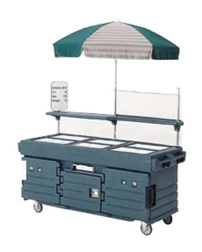 Cambro KVC856U191 CamKiosk Cart with Umbrella - (6)Pan Wells, Granite Gray/Beige/Green