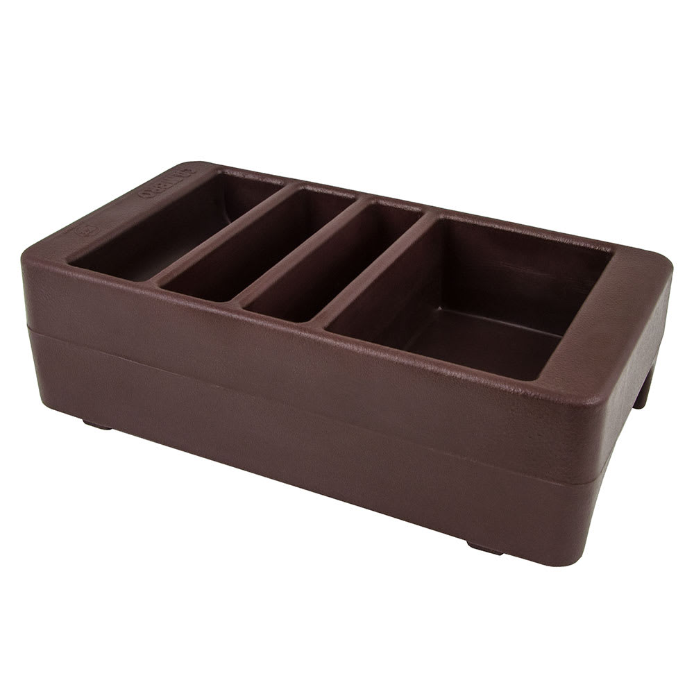 "Cambro LCDCH131 Camtainer Condiment Holder - 16-1/2x8-3/4x5"" Dark Brown"