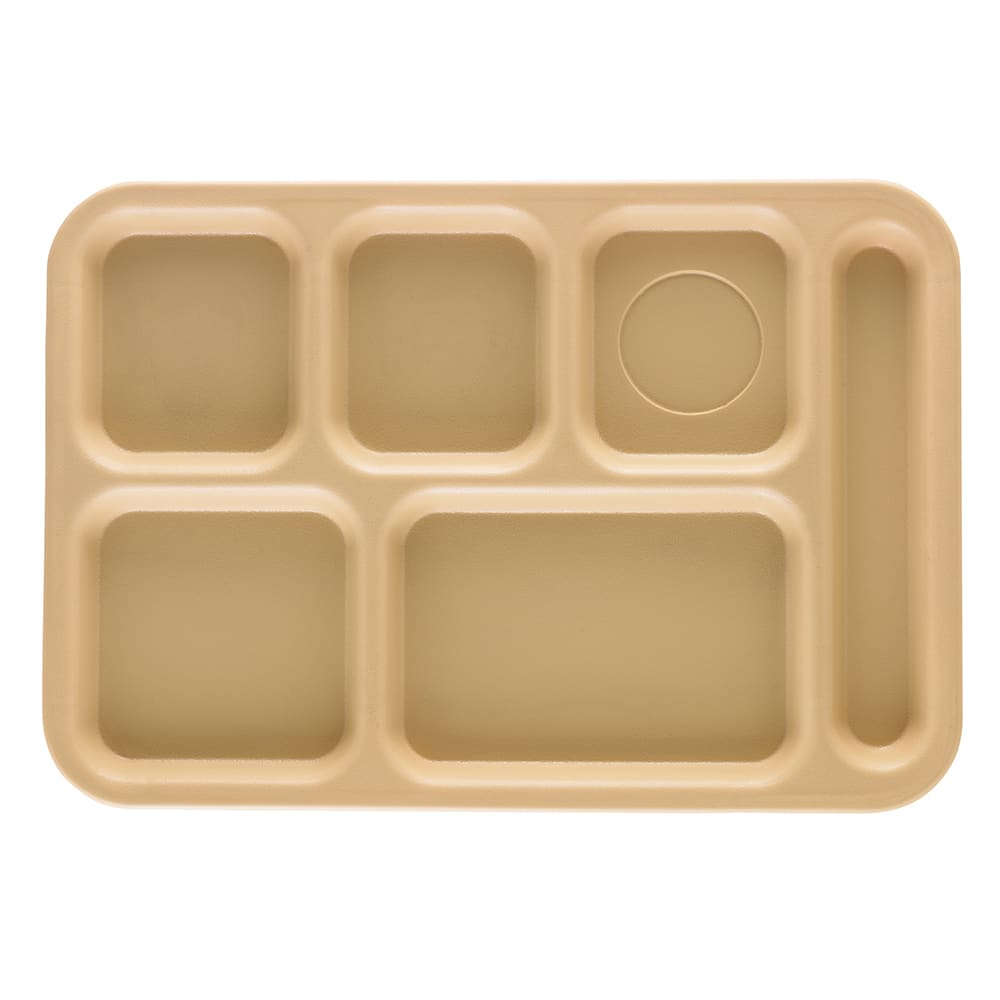 "Cambro PS1014161 Rectangular Penny-Saver School Tray - 6-Compartment, 10x14-1/2"" Tan"