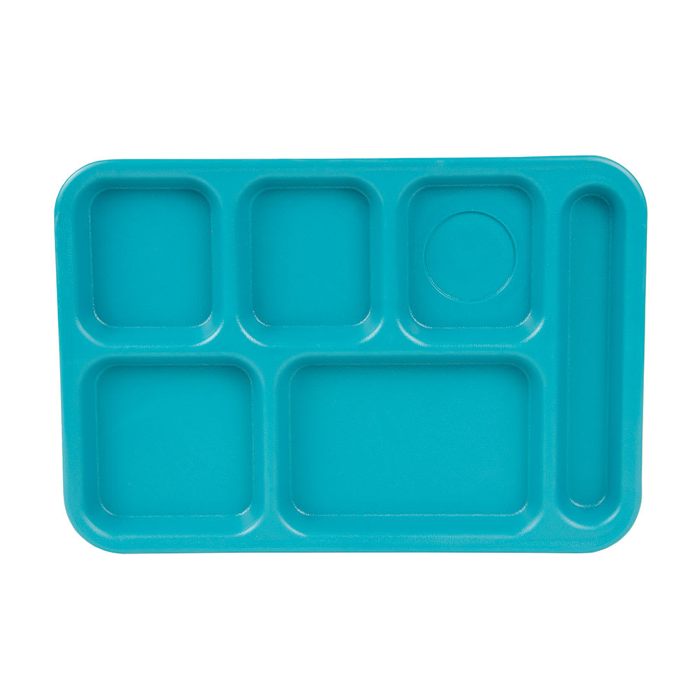 "Cambro PS1014414 Rectangular Penny-Saver School Tray - 6-Compartment, 10x14-1/2"" Teal"