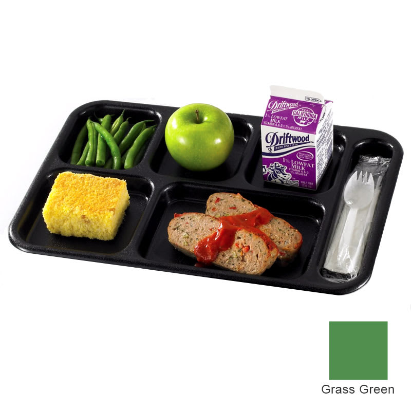 "Cambro PS1014437 Rectangular Penny-Saver School Tray - 6 Compartment, 10x14 1/2"" Grass Green"
