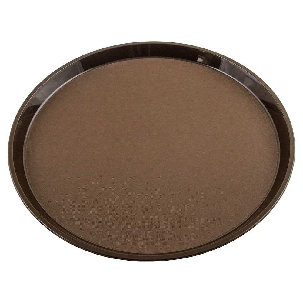 "Cambro PT1400167 14"" Round Polytread Tray - Brown"