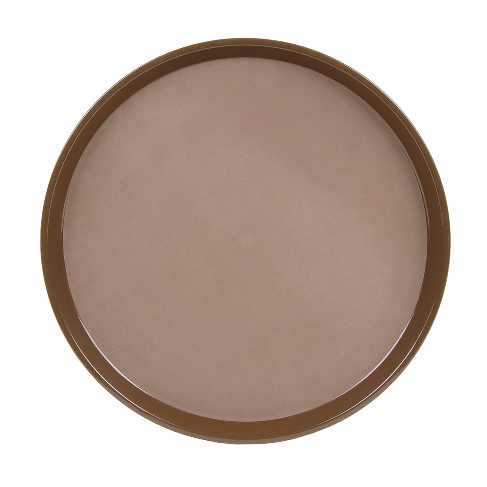 "Cambro PT1600167 16"" Round Polytread Tray - Brown"
