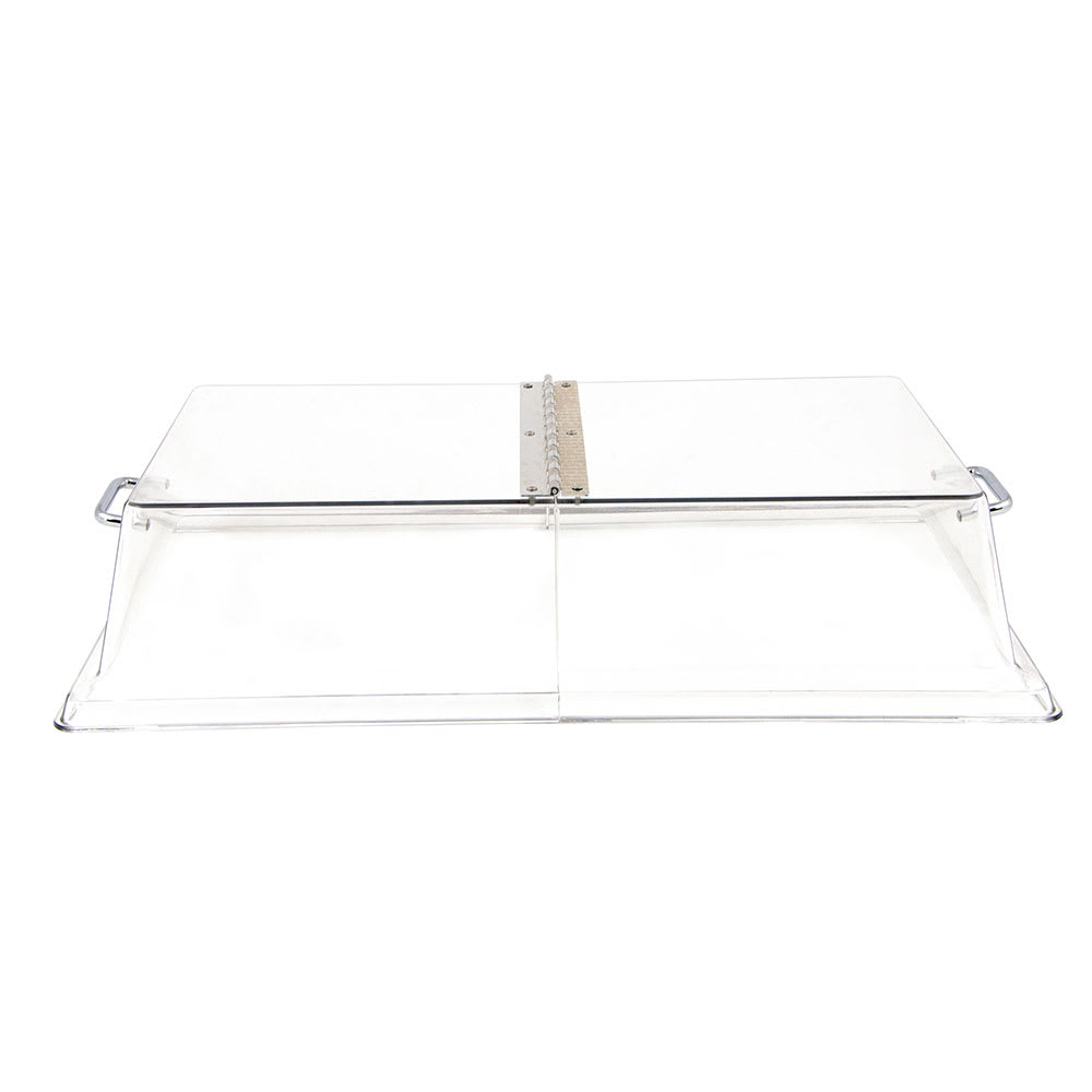 "Cambro RD1220CWH135 Rectangular Display Cover - Hinged, 12x20"" Clear/Chrome"