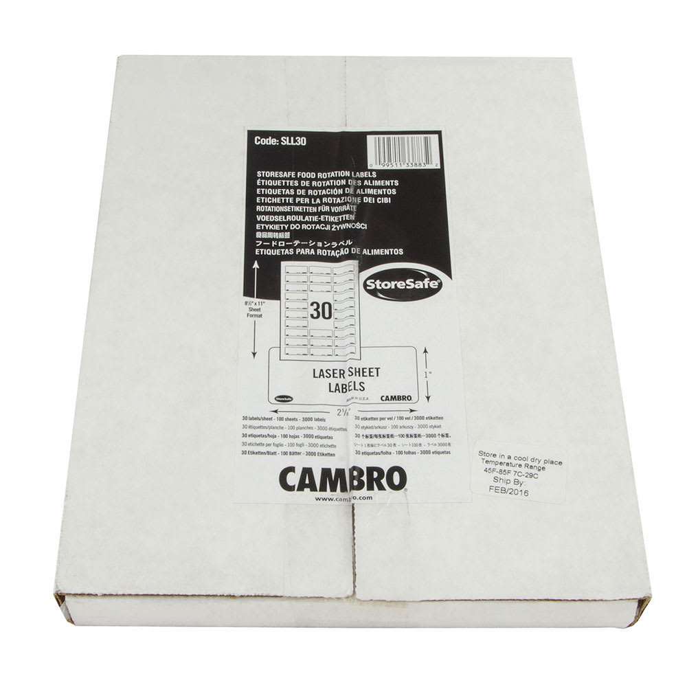 "Cambro SLL30 StoreSafe Food Rotation Label Laser Sheet - 1x2-1/2"" (3000 Labels)"