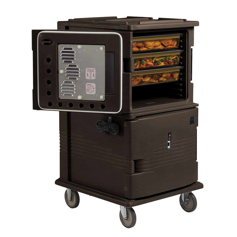 "Cambro UPCHT1600HD131 Camcart Hot Food Pan Carrier - Heated Top, 6"" HD Casters, Dark Brown 110v"