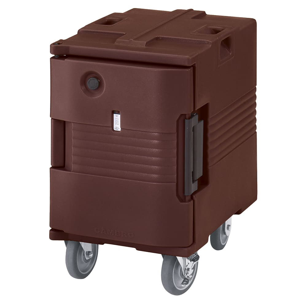 Cambro UPCHW400131 Front Loading Heated Pan Carrier, Casters, 6-Full Pans, Dark Brown