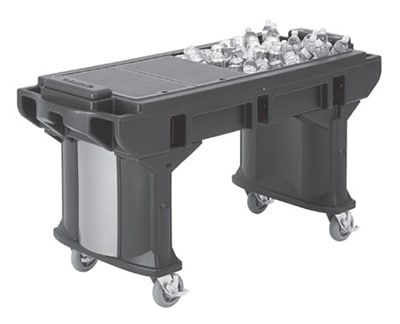 """Cambro VBRTLHD6110 82"""" Cold Food Bar Work Table - Low Height, 6"""" HD Casters, Black"""