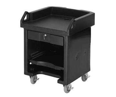 "Cambro VCS158 Versa Cash Register Cart - 32x32 1/4x43"" Hot Red"