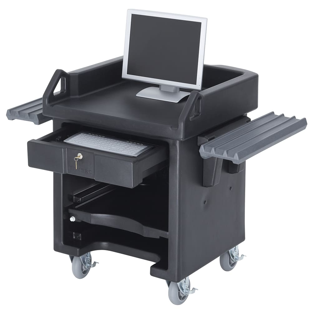 "Cambro VCSHD110 Versa Cash Register Cart - 32x32 1/4x43"" 6"" HD Casters, Black"