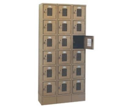 """Winholt WL-618 3 Column Locker w/ (18) 10"""" x 12"""" x 12"""" Compartments, Beige"""