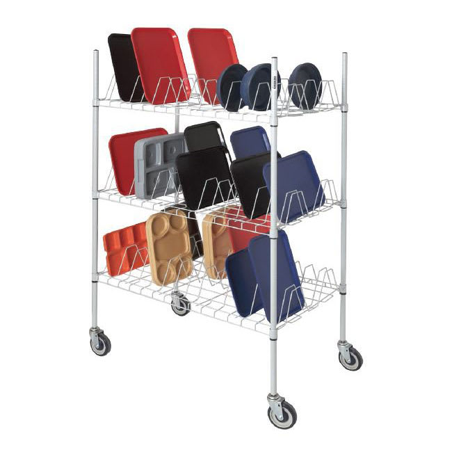 Channel W3TD-3 3 Level Mobile Drying Rack for Trays, Gray Epoxy