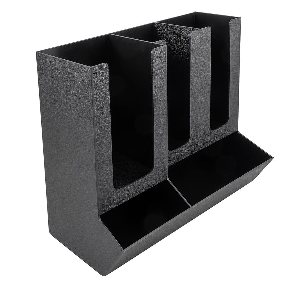"Cal-Mil 1013 Straw & Lid Organizer w/ 3-Sections, 13.25 x 7.25 x 11"", Black"
