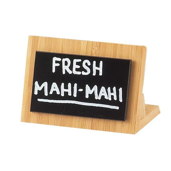 "Cal-Mil 1103-23-60 Tabletop Write-On Menu Board - 2.75"" x 4.25"", Bamboo"