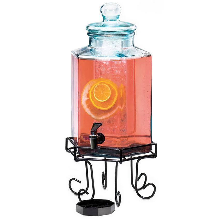 Cal-Mil 1111A 2 gal Hexagon Beverage Dispenser - Lid, Spigot, Drip Tray, Black