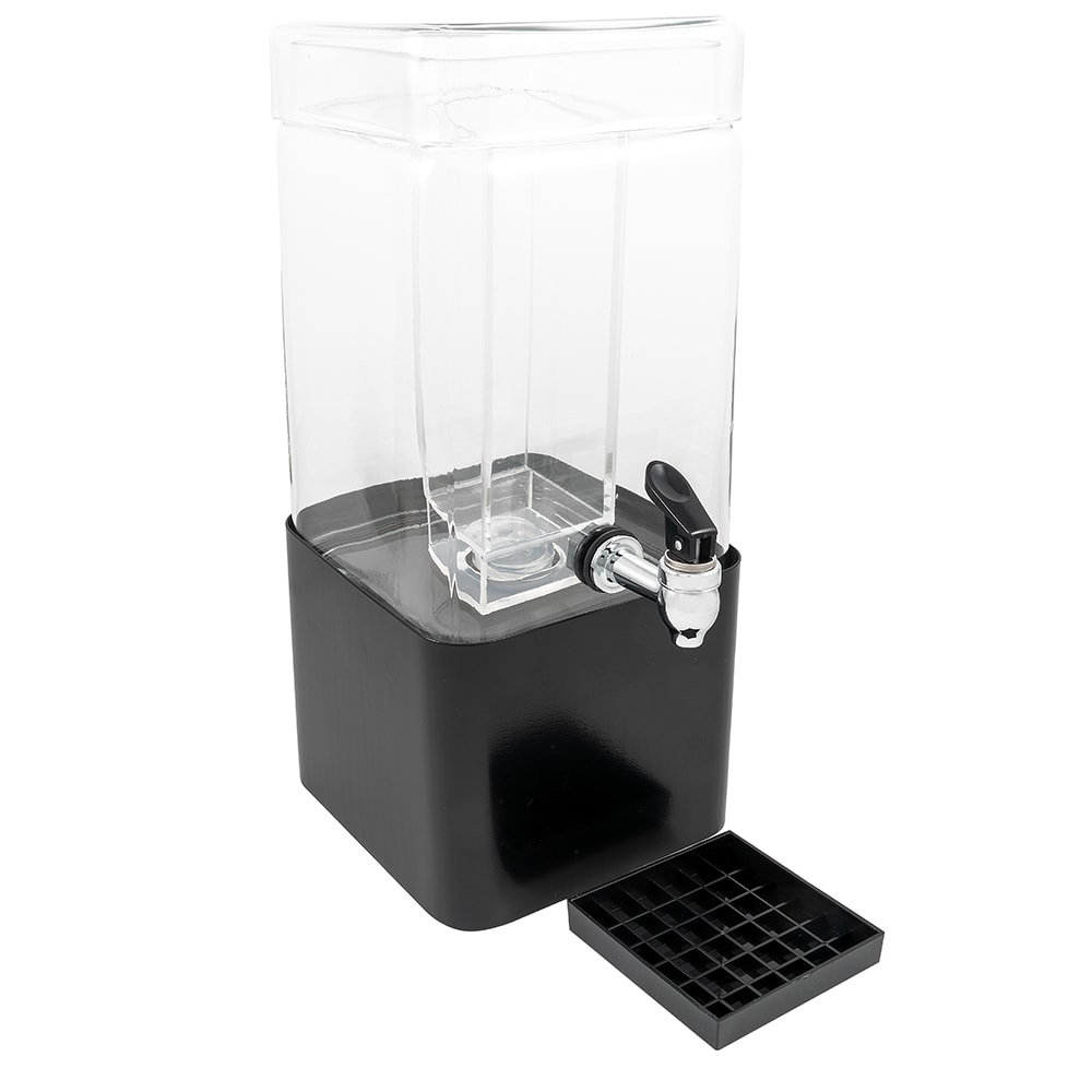Cal-Mil 1112-1-13 1.5 gal Square Beverage Dispenser w/ Ice Chamber - Glass w/ Black Metal Base