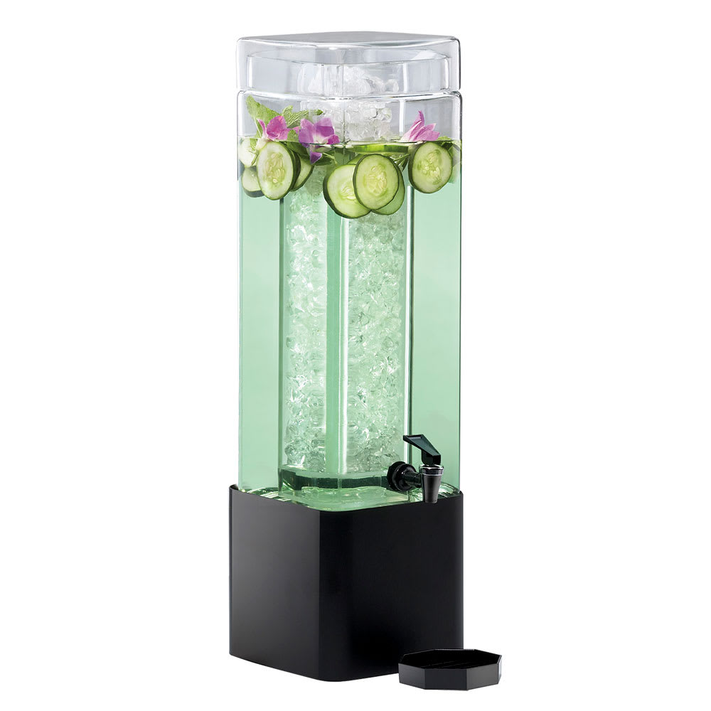 Cal-Mil 1112-1A-13 1.5-gal Beverage Dispenser w/ Ice Chamber - Plastic w/ Black Metal Base
