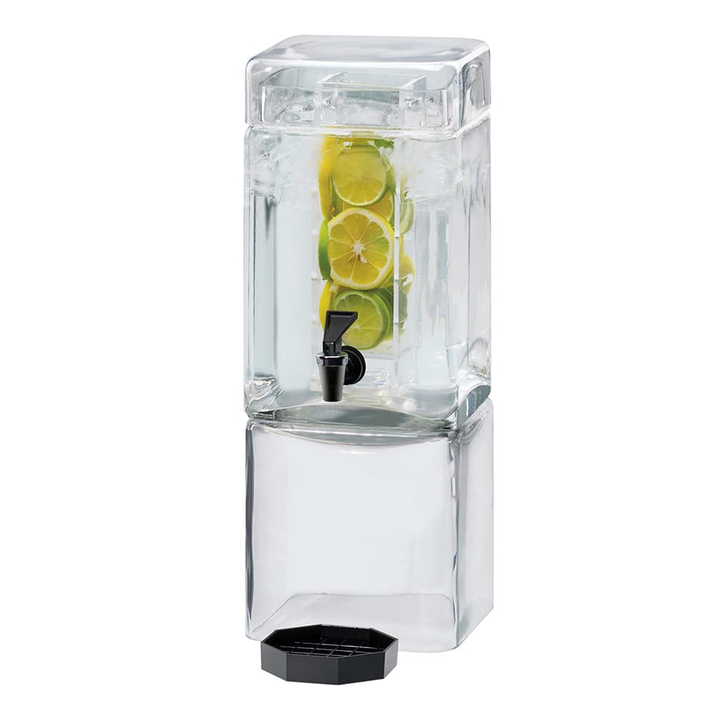 Cal-Mil 1112-1INF 1.5 Gallon Square Glass Beverage Dispenser w/ Infusion Chamber