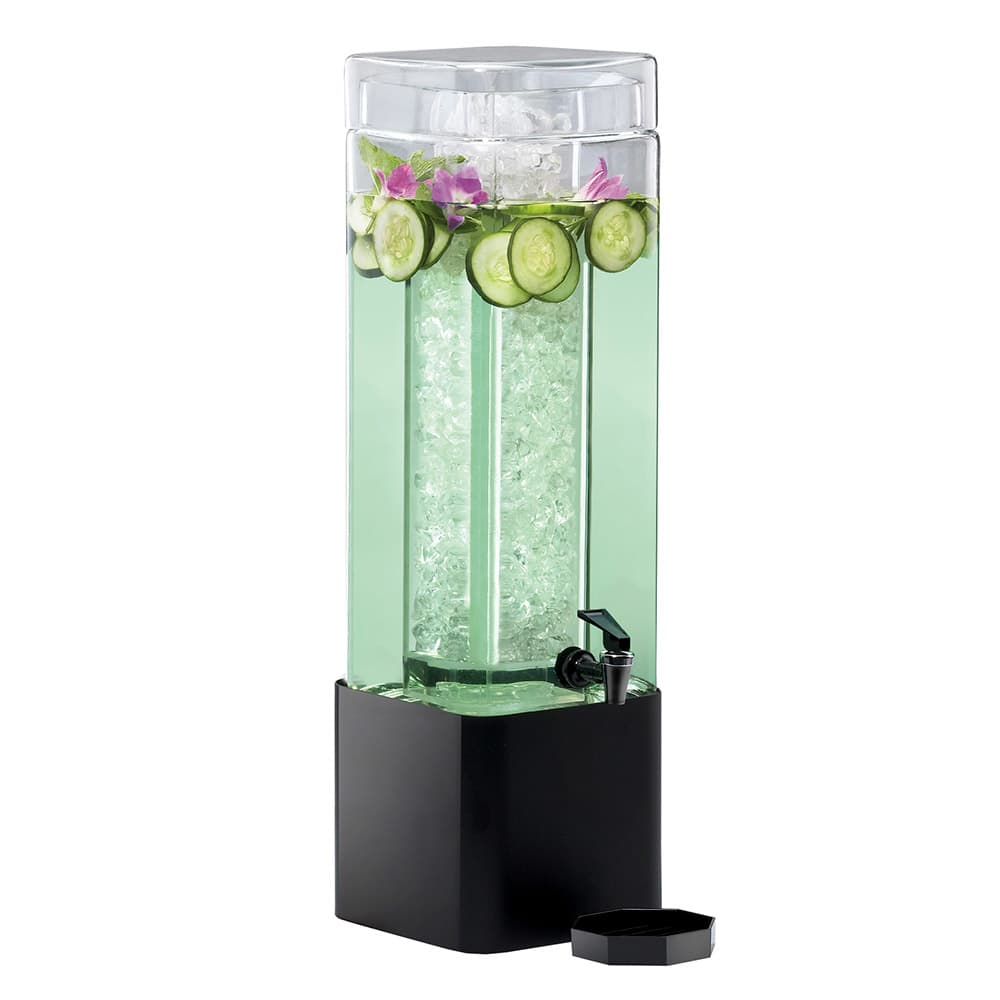 Cal-Mil 1112-3-13 3 Gallon Square Glass Beverage Dispenser w/ Black Metal Base