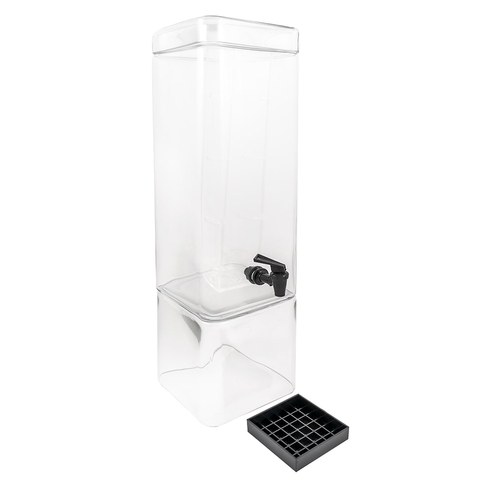 Cal-Mil 1112-3INF 3-Gallon Square Glass Beverage Dispenser w/ Infusion Chamber