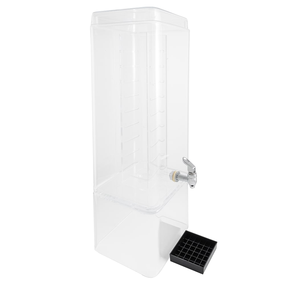 Cal-Mil 1112-5AINF 5-gal Square Beverage Dispenser - Drip Tray, Acrylic