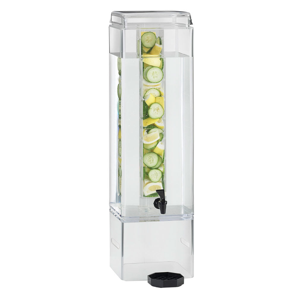 Cal-Mil 1112-5AINFH 5 gal Square Beverage Dispenser - Infusion Chamber, Handles, Acrylic, Clear