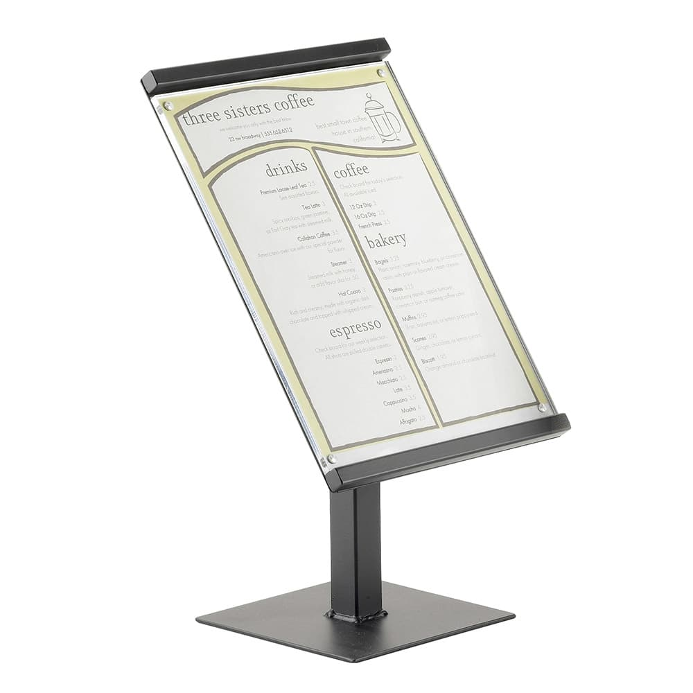 "Cal-Mil 1153-15-13 15"" Freestanding Menu/Sign Holder - 8"" x 11"", Black"