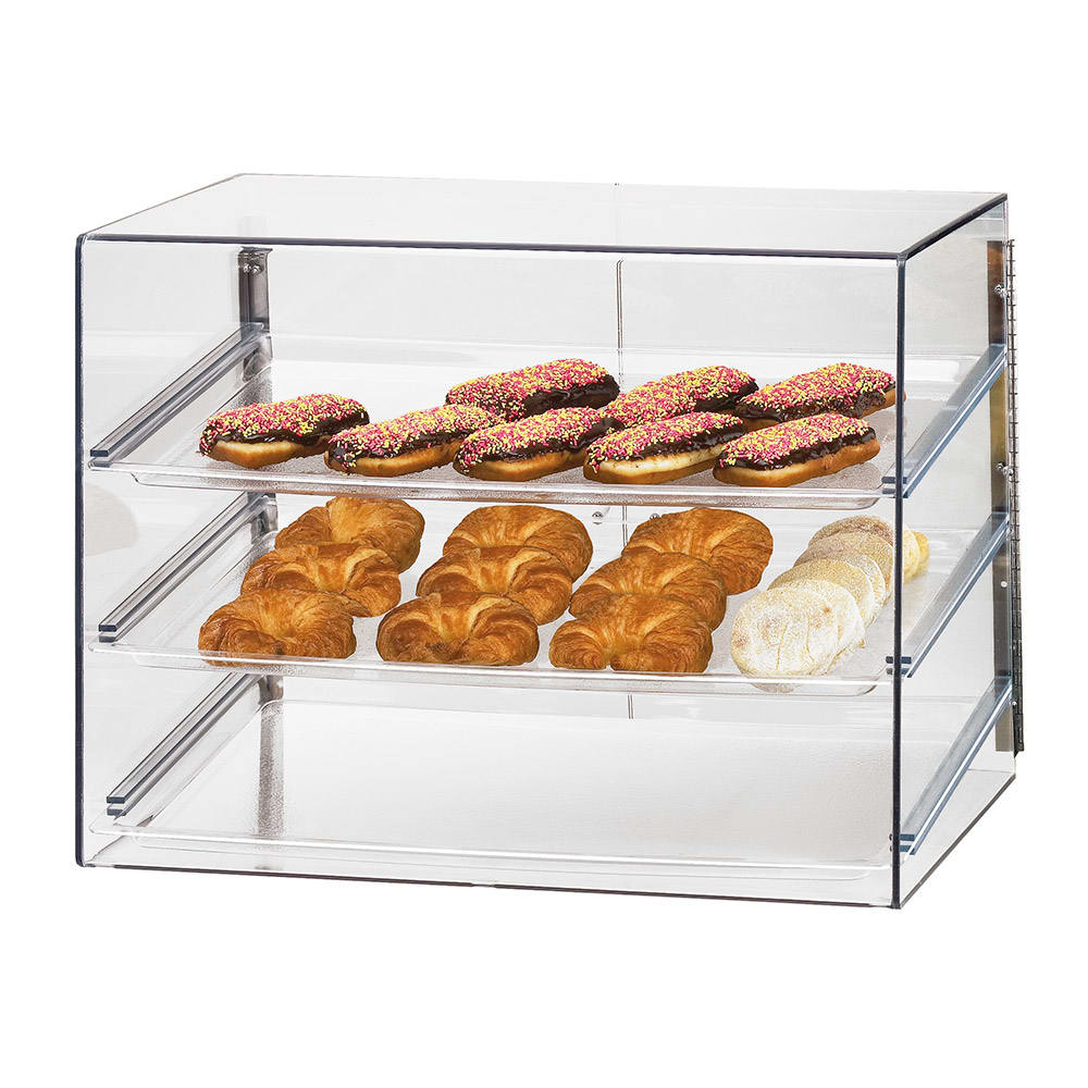 "Cal-Mil 1202 Econo Display Case w/ (3) 18 x 26"" Trays & Slanted Front"