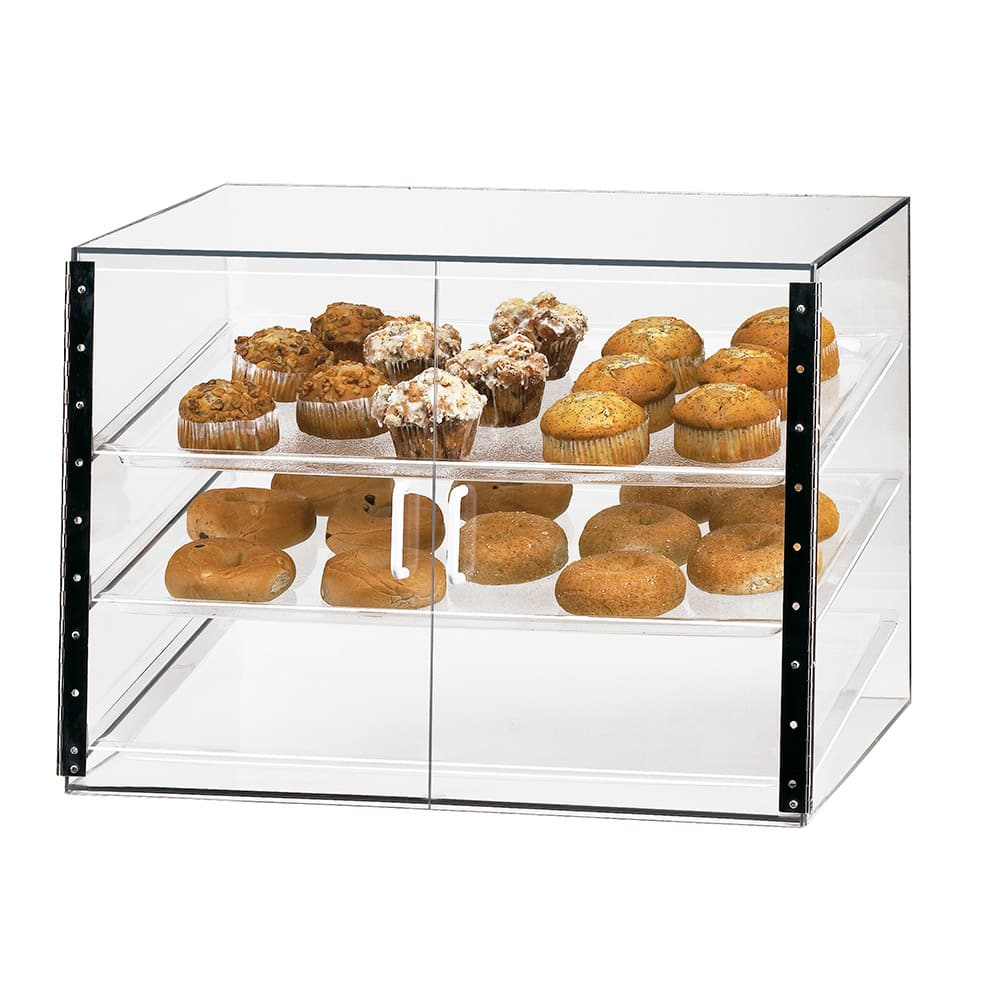 "Cal-Mil 1202S 27"" Self-Serve Slanted Front Display Case w/ (3) 18 x 26"" Trays"