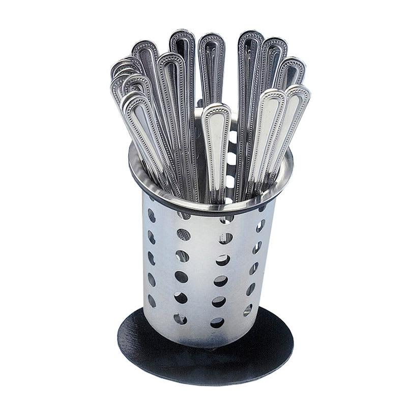 "Cal-Mil 1226-39-PERF 6"" Perforated Cutlery Holder w/ Iron Silver Base"