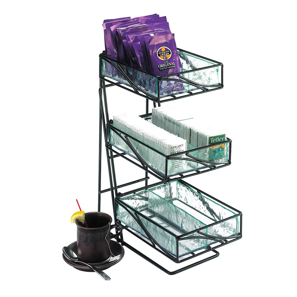 Cal-Mil 1235-TEA 3 Tier Tea Center w/ Faux Glass Removable Bins & Black Wire Frame
