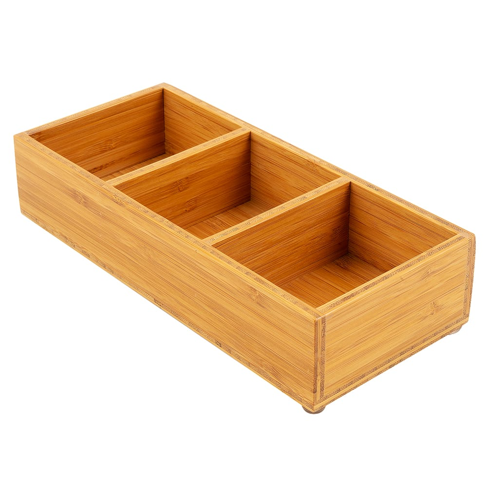 """Cal-Mil 1246 Bamboo Packet & Condiment Holder w/ 3-Slot, 9.5 x 4.75 x 2"""" High"""