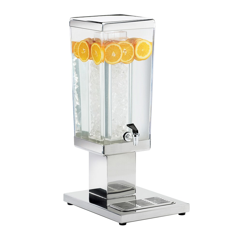 Cal-Mil 1282-3A 3 Gallon Square Acrylic Beverage Dispenser w/ Stainless Base