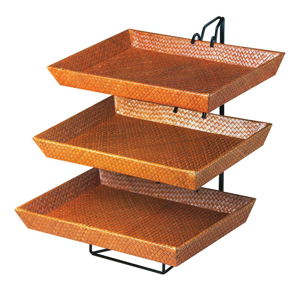"Cal-Mil 1290-3 3 Tier Display & Server Stand w/ (3) 17.5 x 12"" Bamboo Trays"