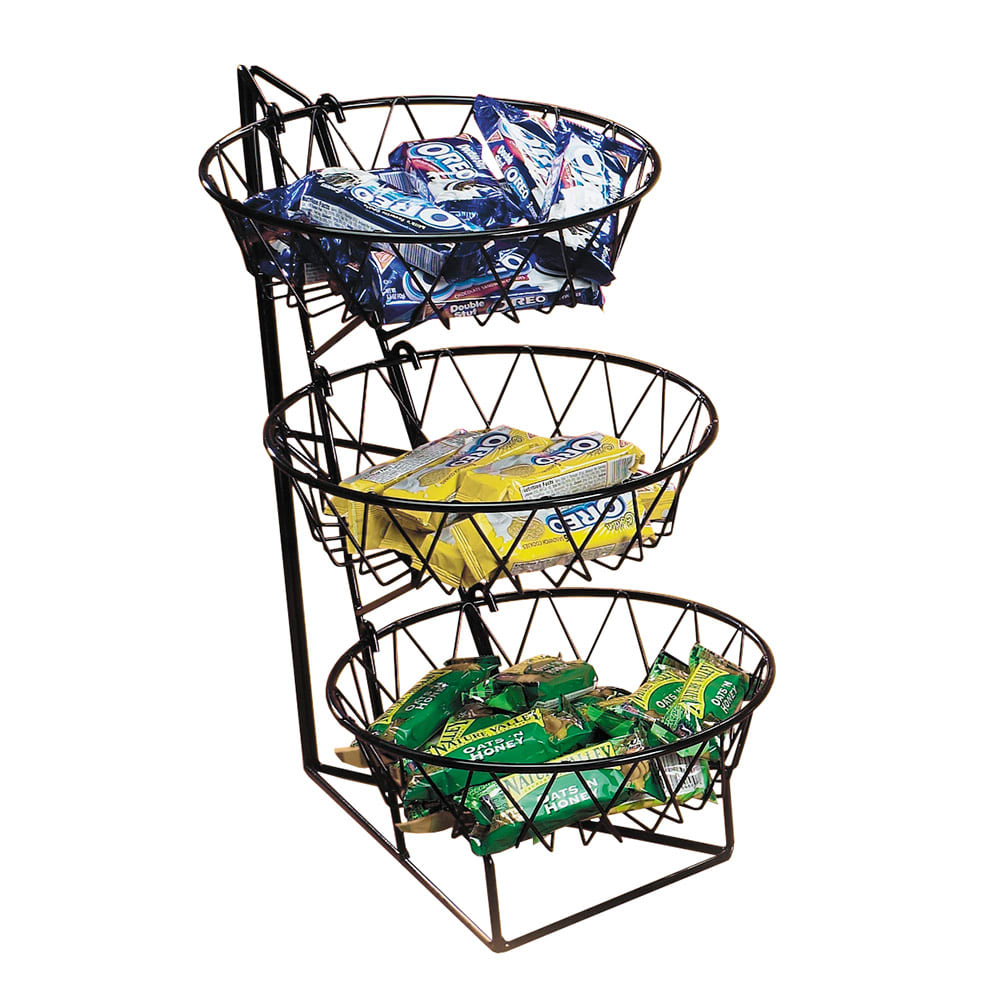 "Cal-Mil 1292-3 3 Tier Display Rack w/ 12"" Round Wire Baskets, Black Wire"