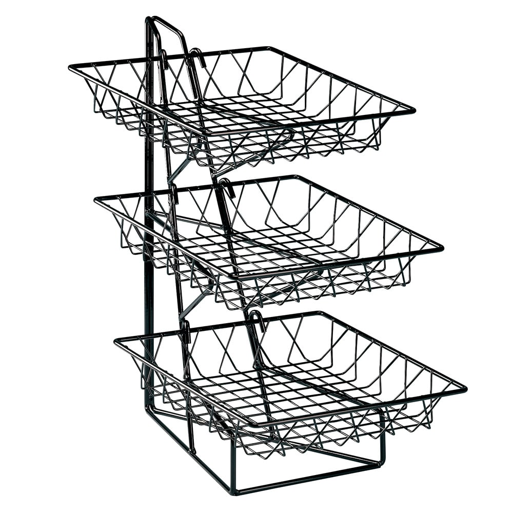 "Cal-Mil 1293-3 3-Tier Display Rack w/ 12"" Square Wire Baskets, Black Wire"