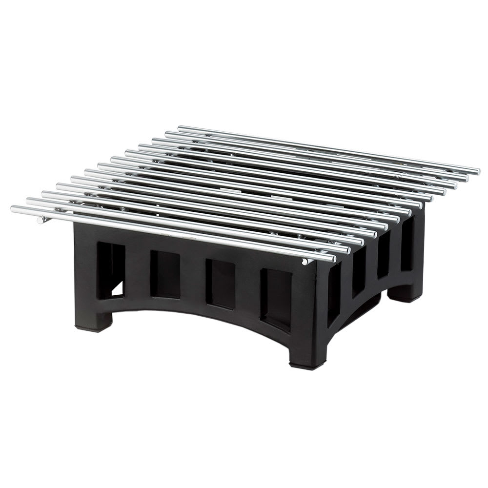 "Cal-Mil 1364-12-13 Bridge Style Square Chafer Alternative, 12 x 12 x 4"" H, Black"