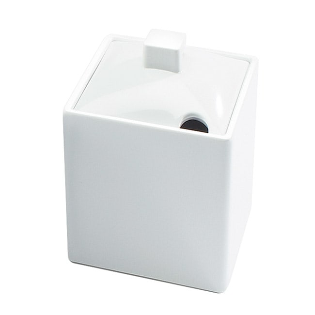 Cal-Mil 1432-15NC 12-oz Square Storage Jar W/Notched Lid - Write-On, Melamine, White