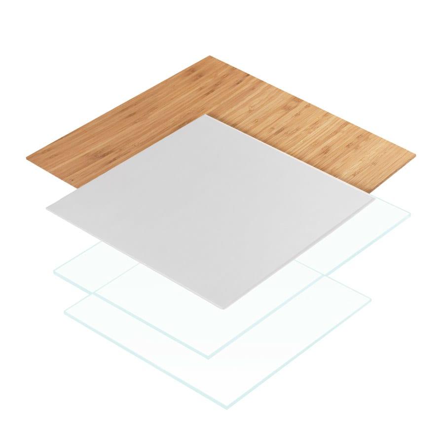 "Cal-Mil 1435-1212-60 12"" Square Tray Riser Shelf - Bamboo"