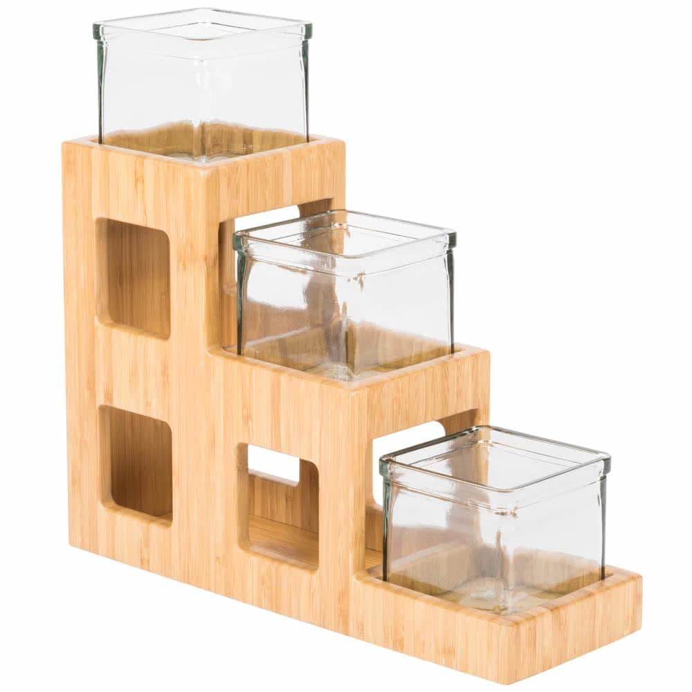 "Cal-Mil 1486 3 Tier Condiment Jar Riser Set w/ (3) 4"" x 4"" Jars, Bamboo"