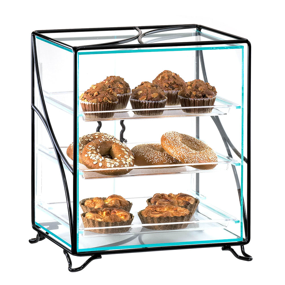 "Cal-Mil 1501-13 Display Case w/ (3) 10 x 14"" Tray, 16 x 12 x 19"" H, Black Wire"