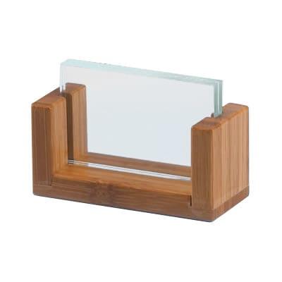 "Cal-Mil 1510-32-60 Tabletop Menu Card Holder - 2"" x 3.5"", Acrylic/Bamboo"