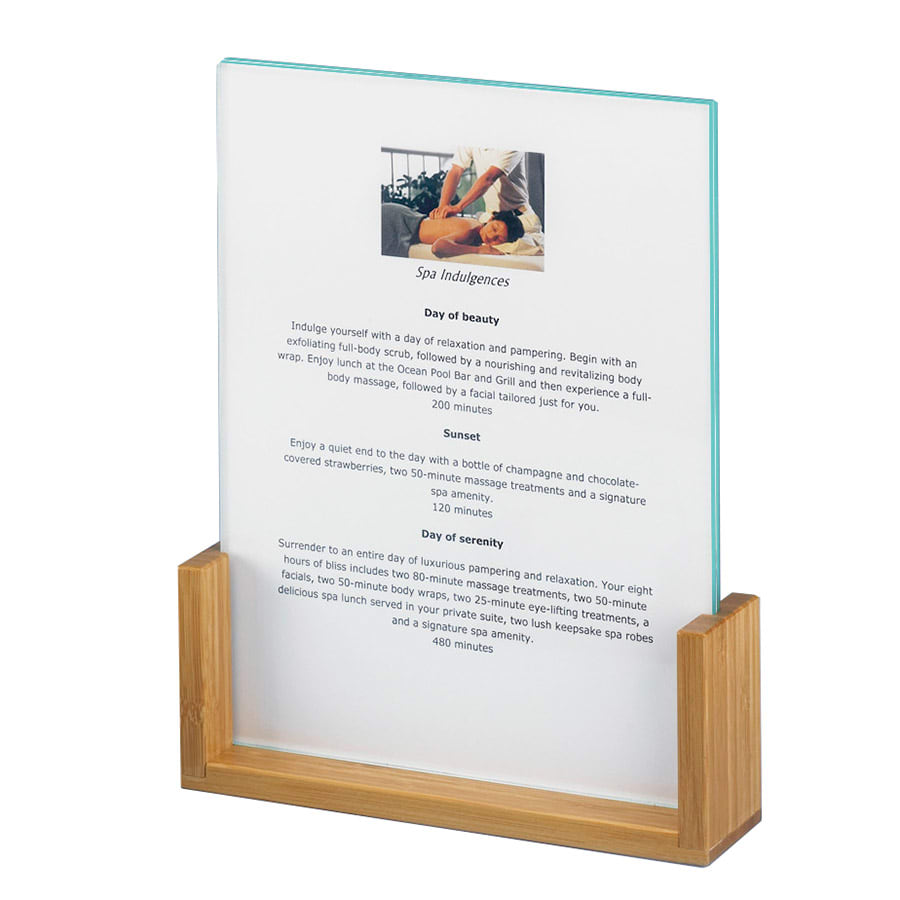 "Cal-Mil 1510-46-60 Tabletop Menu Card Holder - 4"" x 6"", Acrylic/Bamboo"