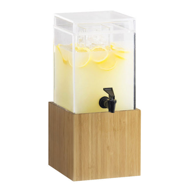 Cal-Mil 1527-1-60 1.5 gal Beverage Dispenser w/ Ice Chamber - Plastic w/ Bamboo Base