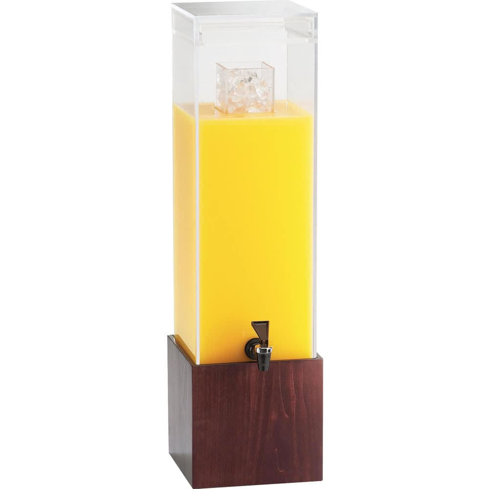 Cal-Mil 1527-3-52 3 gal Beverage Dispenser w/ Ice Chamber - Plastic w/ Dark Wood Base