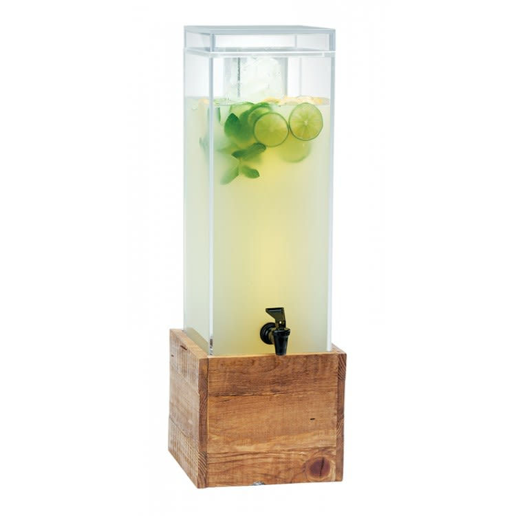 Cal-Mil 1527-3INF-99 3-gal Beverage Dispenser w/ Infusion Chamber - Plastic w/ Reclaimed Wood Base