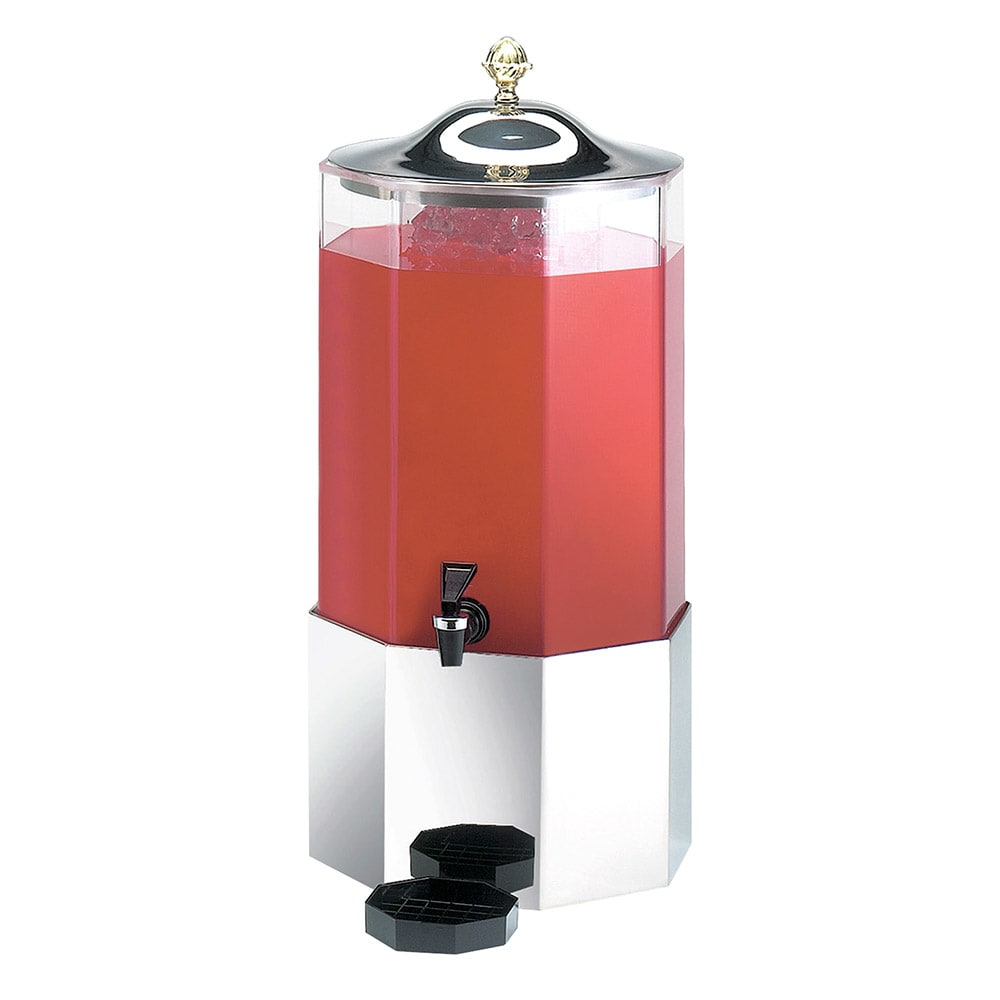 Cal-Mil 152-SS 3 Gallon Octagon Beverage Dispenser w/ Stainless Base & Lid