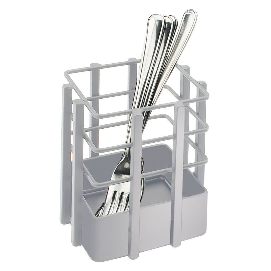 "Cal-Mil 1544-74 4"" Square Flatware Display Organizer - Metal, Silver"