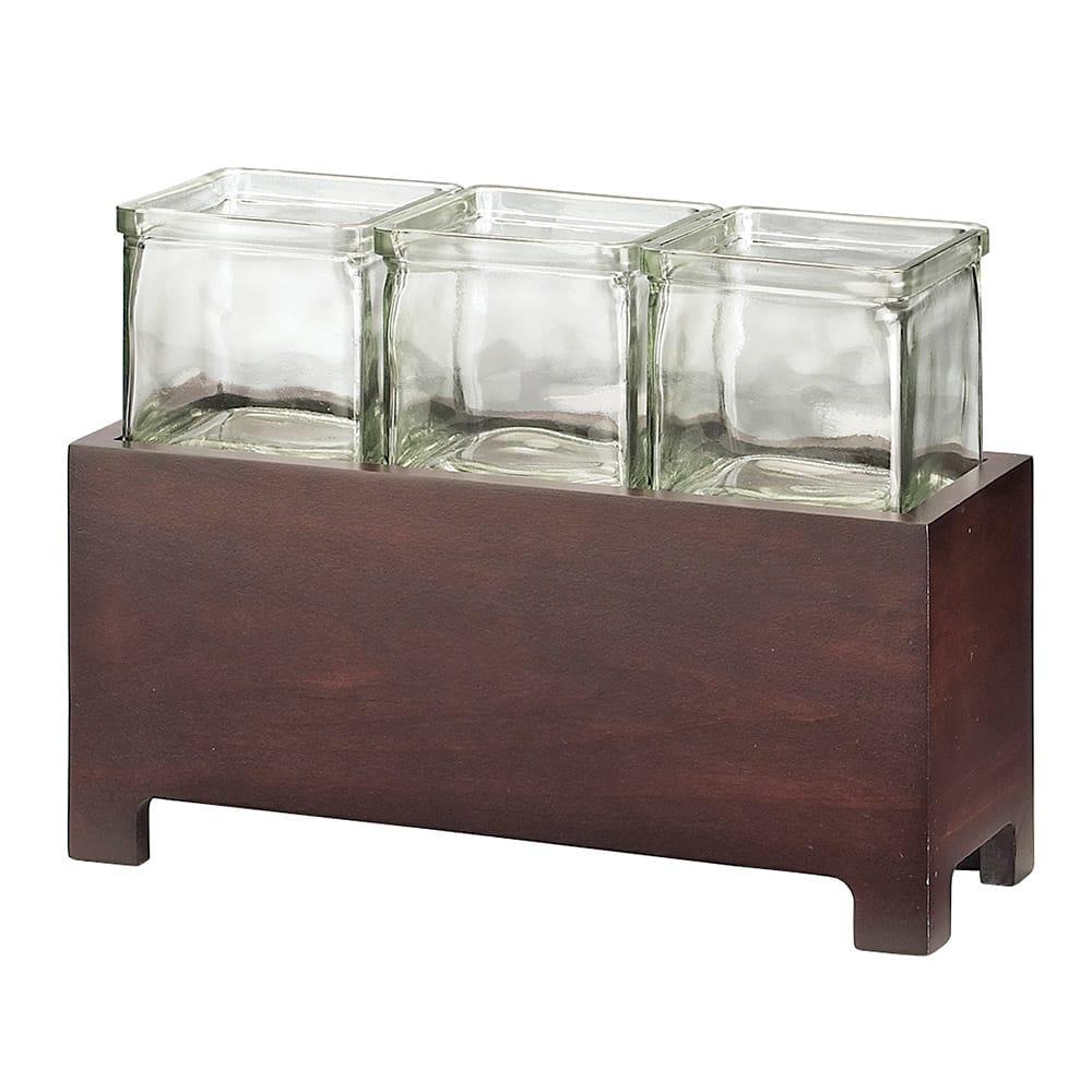 """Cal-Mil 1549-4-52 Jar Display w/ Glass jars, 12.5 x 4.75 x 4"""", BPA Free"""