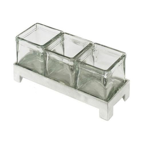 "Cal-Mil 1560-4 Condiment Jar Riser Set w/ (3) 4"" x 4"" Jars, Aluminum"